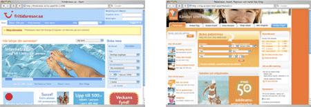 Skärmdumpar av Fritidsresors och Vings nya webbsajter