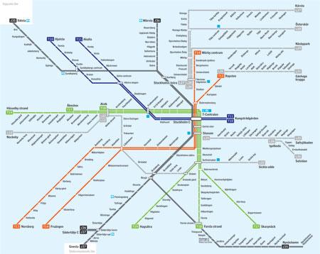 Ny karta över SL:s spårbunda linjer