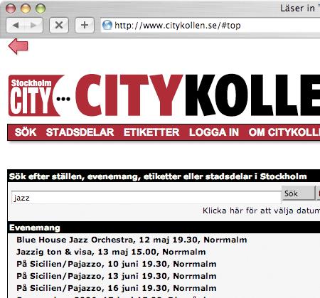 Skärmdump av Citykollen.se