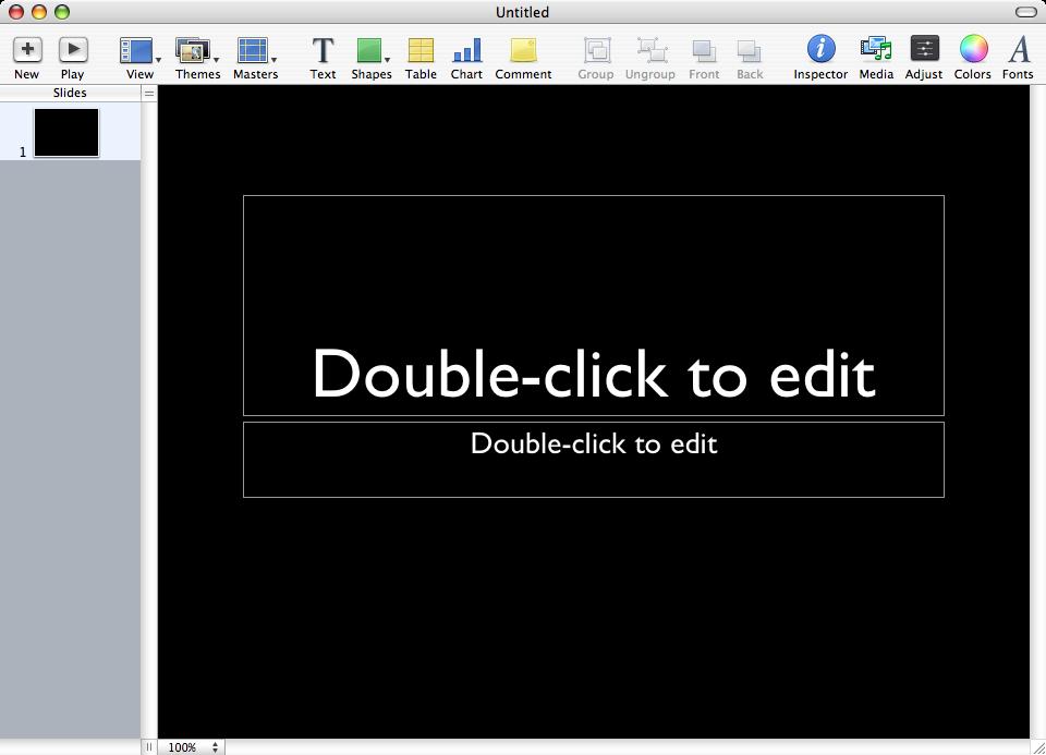 Skärmdump från programmet Keynote