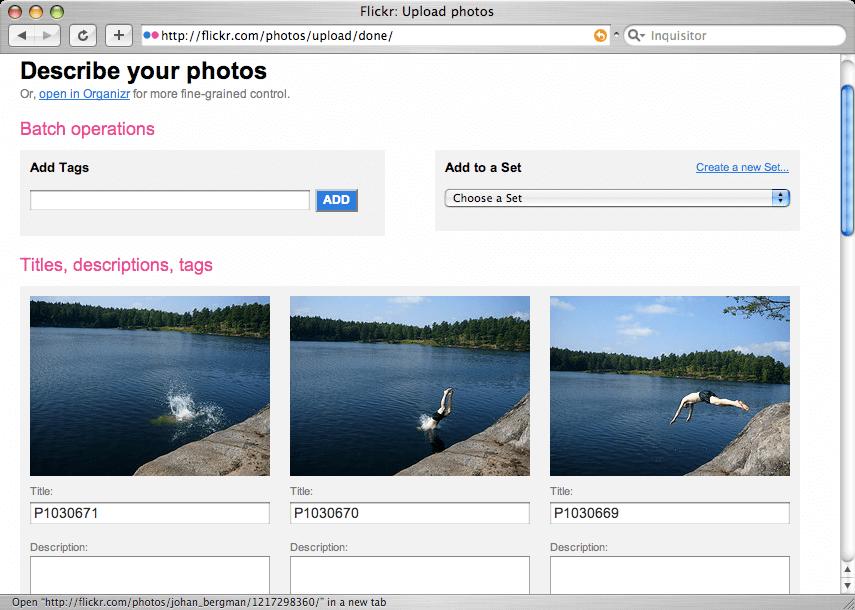 I det sista steget så beskriver användaren sina bilder
