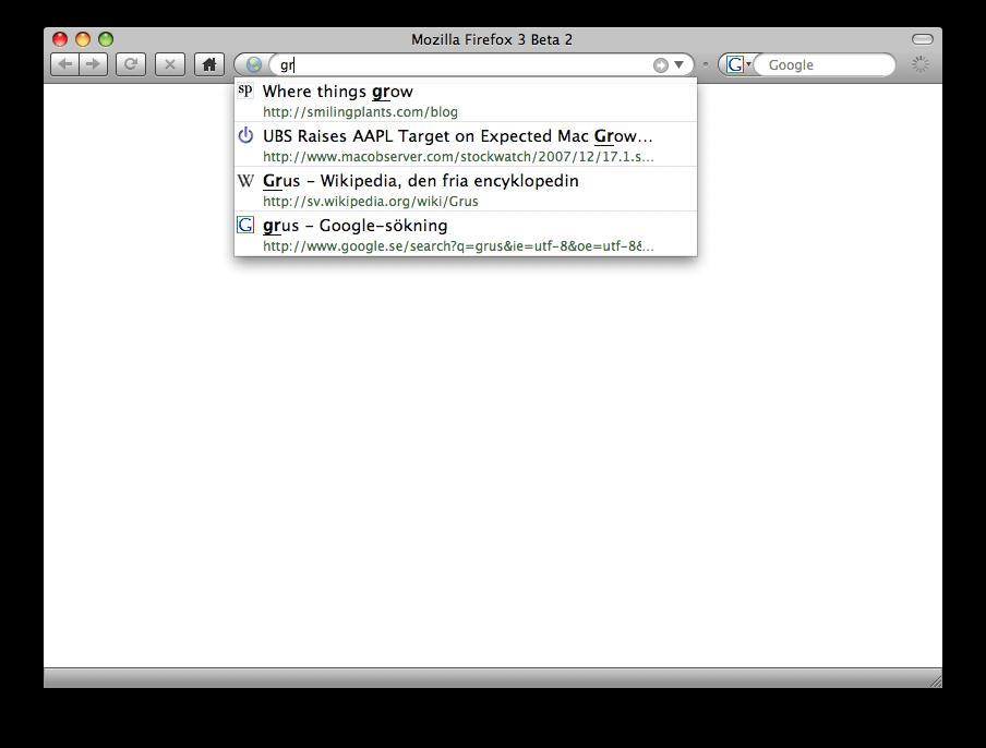 Adressfältet i Firefox 3