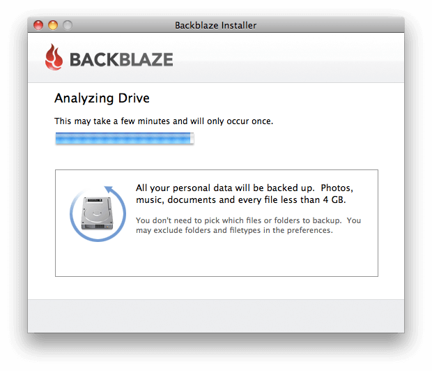 Backblaze informerar och ger tips under tiden programmet installeras