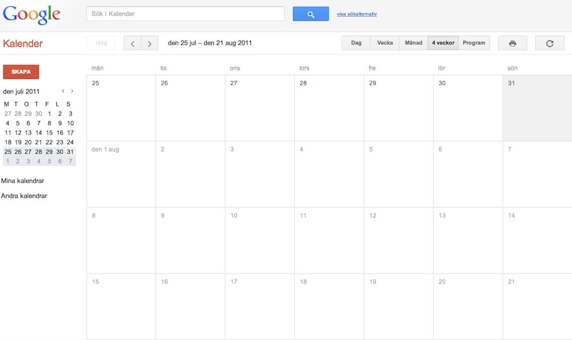 Googles kalender har en månadsvy som visar aktuell vecka längst upp samt de tre kommande veckorna under