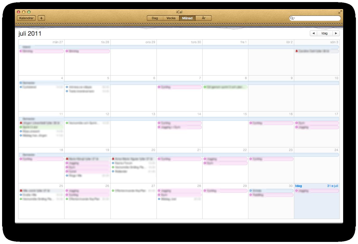 Kalenderprogrammet iCals månadsvy
