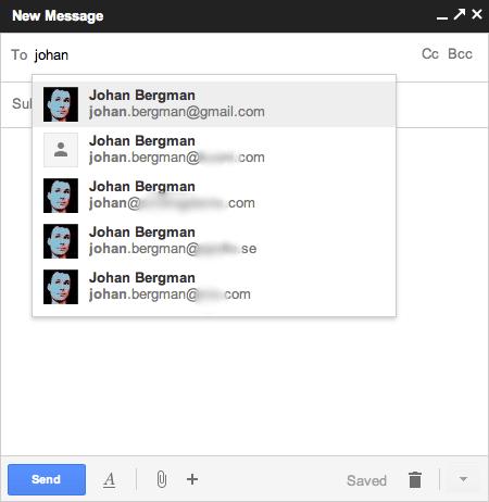 En person som har flera e-postadresser