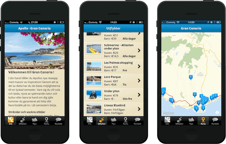 A mobile app to use while on the vacation